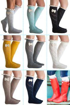 Bow Boot Socks. Lace Bow Boot Socks. Fall Winter Trend. Fashion Socks. Knee High Socks. www.ourworldboutique.com