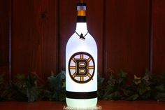 Boston Bruins Bottle Lights - Hockey Decal LED Accent Lamp - NHL Sports Fan Gift - Man Cave Decor - Home Bar -Wine -Glass -Beer Liquor -Sign by AccentBottleLights on Etsy https://www.etsy.com/listing/469299602/boston-bruins-bottle-lights-hockey-decal