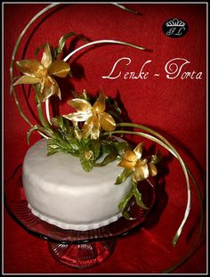 Cake with pulled sugar orchids
