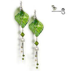 Green Earrings Very Long 11cm Swarovski Crystal & Glass Free Gift Box by Diosa Jewellery: Amazon.co.uk: Jewellery