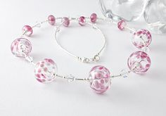 Pretty and delicate Pink Hollow Bead Lampwork Necklace