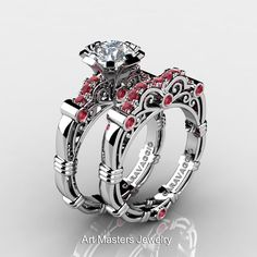 Art Masters Caravaggio 10K White Gold 1.0 Ct White Sapphire Rubies Engagement Ring Wedding Band Set R623S-10KWGRWS-1