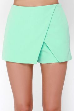 Get enveloped in the envelope skort of your dreams called the Postcard from Paradise Mint Green Skort! Fabric falls in a surplice design with hidden shorts below. Golf Skirts, Mini Skirts, Envelope Skirt, Sewing Shorts, Kids Outfits, Cute Outfits, Plus Size Skirts, Cute Shorts, Skirt Fashion