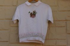 Vintage 80s-90s Collared Bunny Sweater Short by SycamoreVintage