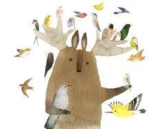 Tukoni e amici bere tè Poster a4/a3 animale arte di TukoniTribe