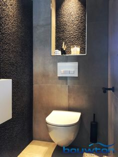 Small Toilet Room, Small Bathroom, Modern Bathroom Design, Bathroom Interior Design, Modern Toilet Design, Wc Container, Recessed Toilet Paper Holder, Toilet Mat, Downstairs Toilet