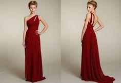 Bridesmaids dress in crimson. Noir by Lazaro.
