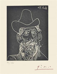 Pablo Picasso, Portrait of a Bearded Man Wearing a Hat 1971