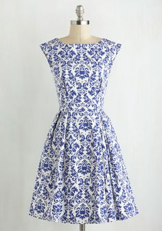 Be Outside Dress in Delft. Who would want to be cooped up when clothed in the fun cobalt pattern of this pretty dress? #gold #prom #modcloth