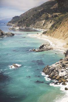 Beautiful Big Sur coastline along PCH in Central California.