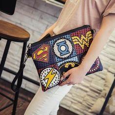 Cheap bag suede, Buy Quality clutch bags cheap directly from China clutch box Suppliers: Unisex Marvel Clutch Fashion Retro PU Leather Supercool Superhero Avengers Rivet Gothic Punk Handy Wrist Clutch Bag Big Purses, Cute Purses, Purses And Bags, Women's Bags, Studded Clutch, Leather Clutch Bags, Clutch Purse, Superman, Batman Comics