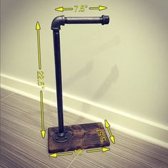Im thinking closer to 30 high if possible. Industrial/Rustic Toilet Paper Stand/Holder/Wood/Pipe by Lulight Industrial Toilets, Rustic Toilets, Industrial Bathroom, Rustic Industrial, Modern Rustic, Industrial Wallpaper, Rustic Cafe, Rustic Logo, Industrial Bookshelf