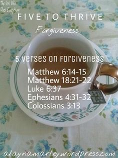Five to Thrive: Forgiveness - The Girl Who Does Everything...I'm really excited to start this series mainly because it will help me more than it will help you. This post is about forgiveness, which is definitely one of my weaknesses. Honestly, the greatest truth I learned from studying the Scripture for this article...
