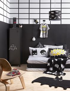 Black And White Kids Batman Bedroom
