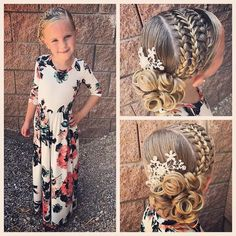 All ready for church! We combined Day 24 and 25 of our challenge today! We did two feathered French braids and attached… Cute Girls Hairstyles, Flower Girl Hairstyles, Braided Hairstyles, Wedding Hairstyles, Girl Hair Dos, Baby Girl Hair, Natural Hair Styles, Long Hair Styles, Braids For Kids