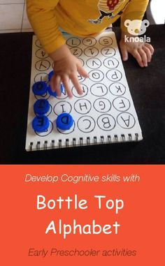 #Knoala Two to Three Year Old activity 'Bottle Top Alphabet' helps little ones develop Cognitive and Language skills in just 15 mins. Click for simple instructions & 1000s more fun, easy, no-prep activities for kids ages 0-5! #activities #DIY