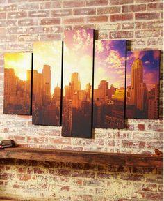 40-407 Portfolio Good Morning New York canvas art Gold,Blue City Canvas