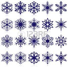 Collection de vecteur de formes de Flocon de neige isol sur fond blanc  Banque d'images