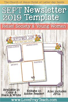 September 2019 Editable Newsletter Packet for Relief Society and Young Women Relief Society Lesson Helps, Relief Society Lessons, Relief Society Activities, Lds Primary Lessons, Mutual Activities, Newsletter Template Free, Visiting Teaching Handouts, Schedule Calendar, Young Women Lessons