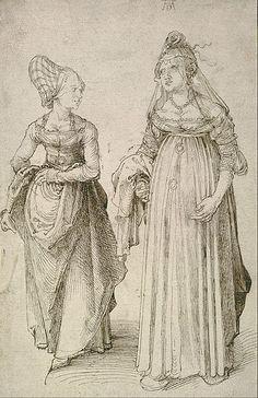 "File:Albrecht Dürer - Lady in Venetian Dress Contrasted with a Nuremberg ""Hausfrau"" - Google Art Project.jpg"