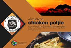 South African Food: Slow-cooked chicken potjie Slow Cooked Chicken, South African Recipes, World Recipes, Slow Cooker, Spices, Favorite Recipes, Foods, Dining, Cooking