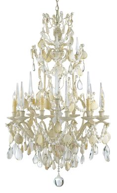 Coral coastal chandelier home lights on pinterest a stunning seashellchandelier mozeypictures Images