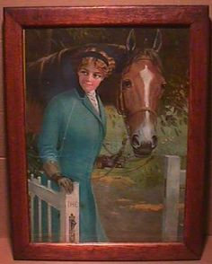 R ATKINSON FOX PRINT - BEAUTIFUL LADY AND HER HORSE -INTERNATIONAL HARVESTOR CO.