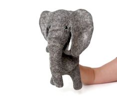 Elephant felt toy glove puppet on the hand of natural wool, handmade, puppet for the puppet theater,SOLD. I accept repeat orders. Glove Puppets, Finger Puppets, Meaning Of Education, Male Hands, Kids Hands, Felt Toys, Wet Felting, Kids Toys, Theater