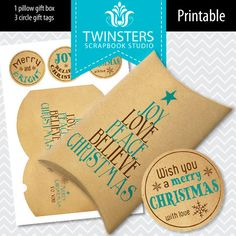 Printable Christmas Pillow Gift Box  old paper  blue  by Twinsters