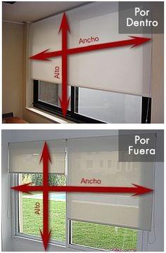 Pasos para medir tus cortinas, persianas y toldos.  PASO 1:  -Determina si es fuera de marco o dentro de marco. -Si es fuera de marco, agrega 10 cm, a cada lado: arriba, abajo, izquierda y derecha. -Si es dentro de marco, resta 1 cm del ancho de la ventana