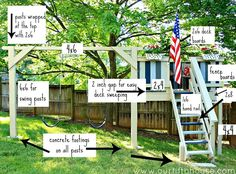 diy swing set and playhouse plans .possible for playground reconfiguration this summer Backyard Playground, Backyard For Kids, Diy For Kids, Backyard Shade, Playground Ideas, Backyard Games, Swing Set Plans, Swing Sets, Build A Swing Set