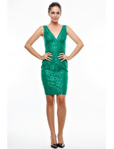 Rochie verde din brocart, Anka`s - Material: 96% poliester, 4% spandex.Culoare: verde. - Lungime: 96 cm.Detalii: rochia prezinta captuseala.<br/>Marimi disponibile: XS,S,M,L,XL Colectia Rochii de ocazie de la  www.rochii-ieftine.net