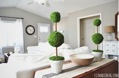 Create these stylish faux topiaries with a few styrofoam balls, wooden dowels, sheet moss, and a flower pot from the dollar store.  Get the tutorial at Liz Marie Blog.