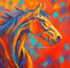 """Abstract Horse Painting in Bright Colors By Theresa Paden """"Southwestern Wind"""" 24 x Acrylic paint on a deep gallery. Southwestern Paintings, Southwestern Art, Horse Canvas Painting, Horse Paintings, Painting Abstract, Sad Paintings, Acrylic Paintings, Acrylic Art, Daily Painters"""
