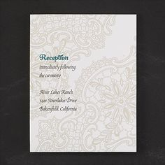 Common Thread - Reception Card  |  http://mediaplus.carlsoncraft.com/Wedding/Reception-Cards/3284-RTR35682-Common-Thread--Reception-Card.pro?parentProductId=105212  |  RTR35682 Include lace design reception cards in your stitched wedding invitations to give guests all the details. Choose your color for a custom touch.
