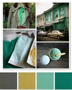 Our Christmas photo color pallet: mustard yellow, evergreen, mint and gray ... I'm obsessed with these colors right now