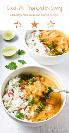Crock Pot Thai Chicken Curry is one of the easiest meals to make and is so tasty. Curry paste, coconut milk, and ginger add a ton of flavor to this healthy, low-cal, and naturally paleo + gluten-free dinner. Your family will LOVE it! | #crockpotrecipes #chickenrecipes #paleorecipes #glutenfreerecipes #thaicurry