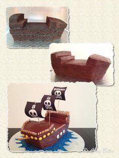 Make Ship Like This. Want To Make With Pre-made Mini Cakes.Pirate Ship Cake (With Hershey's Chocolate Cake Recipe)