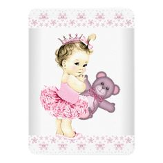 Pink Teddy Bear Tutu Princess Baby Shower