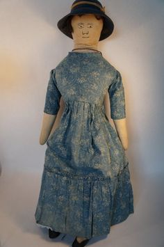 1880/1890 Cloth Doll Wearing Blue Calico Dress, Country & Shaker Antiques, Harvard, MA