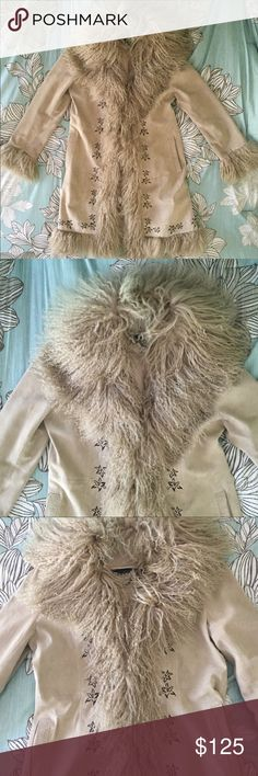 Beautiful Boho Tan leather suede-finish coat 👚 Gorgeous tan suede finish coat. Leather with Mongolian lamb cuffs, color and trim. Beautiful brown embroidery. In very good used condition. Some smudges, but nothing that would impede wear. Super stylish boho beauty! Raffaelo Jackets & Coats