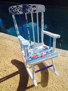SOLD CUSTOM ORDER Hand painted kids rocking chair,One of a kind piece