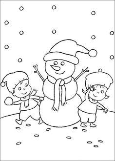 kleurplaat Kerstmis (meer) - Sneeuwpop