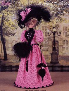 1895 Paris Spring Fashion for Barbie Doll Paradise Vol 36 Crochet PATTERN #ParadisePublications #DollOutfit