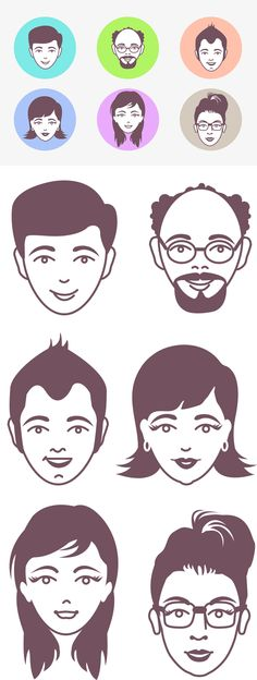 Male and Female Avatar Vector Faces (PSD)  Make native faces exactly like this