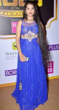 Digangana Suryavanshi in Blue Gown Dress at Zee Gold Awards 2014 - Chinki Pinki Blue Gown Dress, Mod Dress, Beautiful Bollywood Actress, Beautiful Indian Actress, Indian Tv Actress, Indian Actresses, Beautiful Long Hair, Gorgeous Hair, Red Carpet Fashion