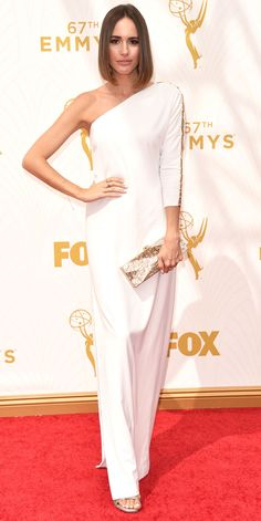 Louise Roe in Halston - Emmys 2015 Red Carpet Arrivals - from InStyle.com