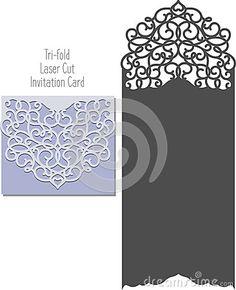 Laser Cut Invitation Card. Laser cutting pattern for invitation wedding card. Wedding invitation envelope template.