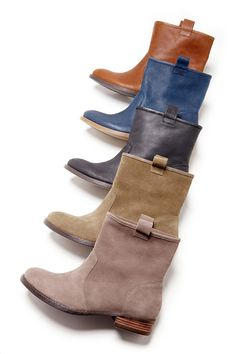 Versatile slip-on booties in buttery soft leather and suede