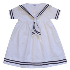 littlelordsandlad...  White girls sailor dress with navy blue trims.    Made from 100% cotton and handmade  £13.99